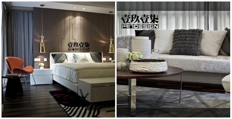 过道与餐厅的黑檀木饰面和客厅沙发背后的木地板造型