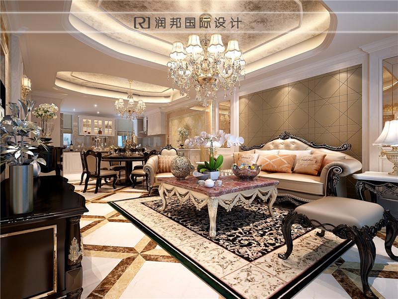 高科荣境别墅住宅欧式风格客厅沙发背景效果图欣赏