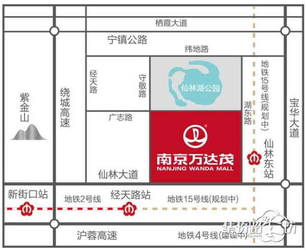 南京万达茂产品分布图,了解整个项目各产品分布位置!万达茂、高层住宅、SOHO、写字楼,还有风情商业街