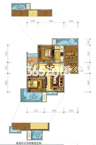 御锦城七期C1户型3室2厅1厨1卫95�O