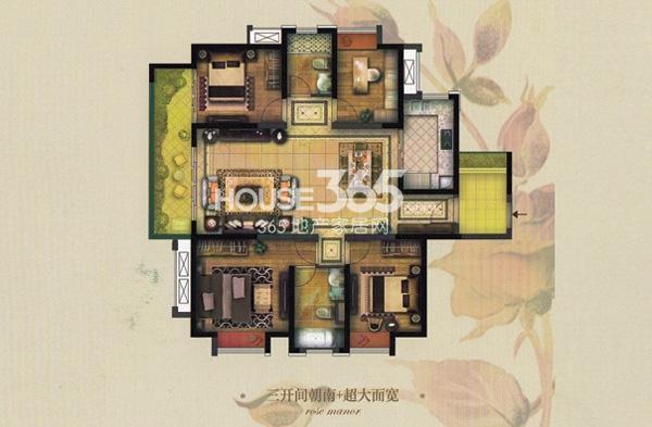 实地玫瑰庄园F1户型4室2厅2卫 141.5平方米