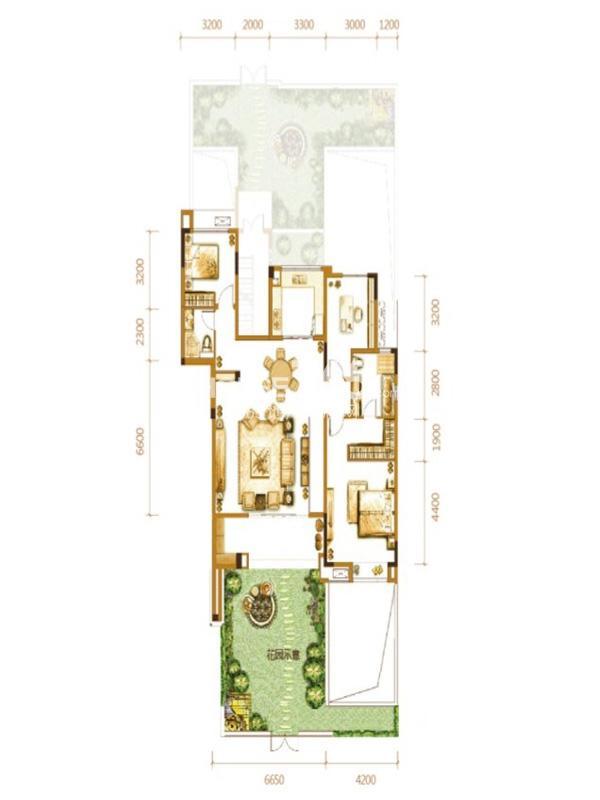 万科悦湾一期洋房8栋标准层b1户型3室2厅1卫1厨 130.00㎡