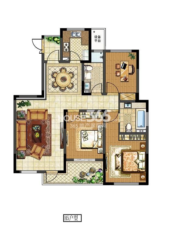 中电颐和府邸二期洋房标准层 H5户型 三房两厅两卫