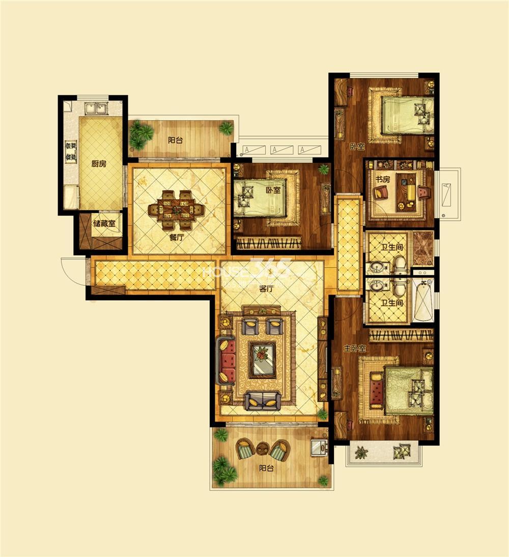 恒大翡翠华庭1期标准层H户型 四房两厅两卫
