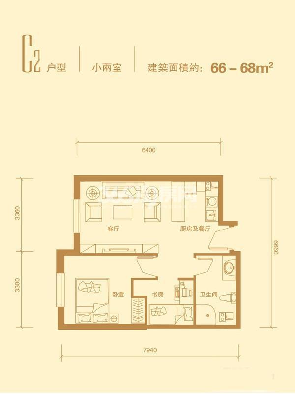 C2户型 1室1厅1卫 66-68平米
