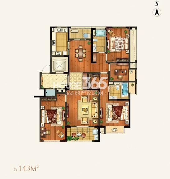 颐和湾花园约143平A-1a户型3室2厅2卫