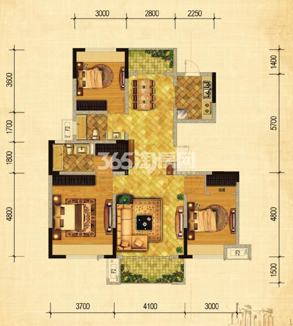 29#绿地世纪城布鲁斯小镇户型图 三室两厅一卫 124.58-128.41㎡