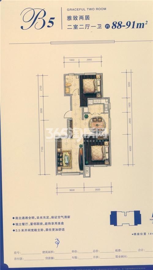B5户型 三室两厅一卫88-91㎡