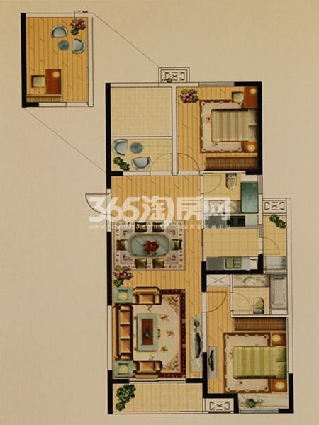城置万锦城P户型  3室2厅2卫  面积:124.93㎡