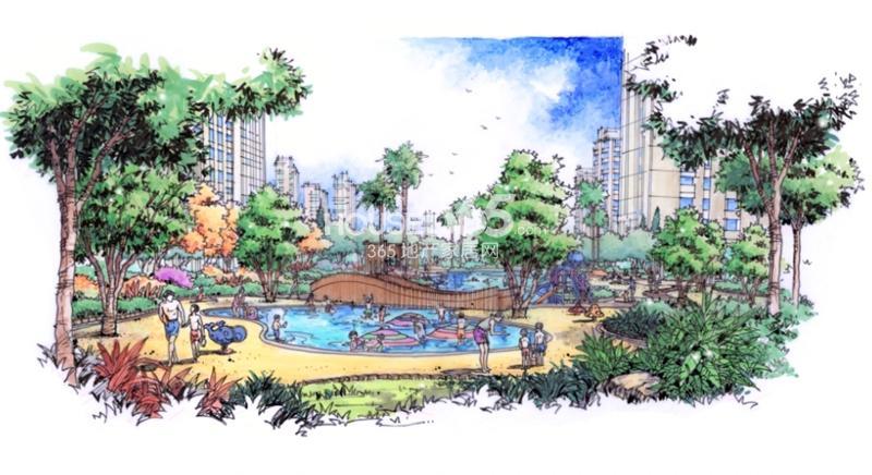 融科瑷颐湾庭院景观手绘效果图