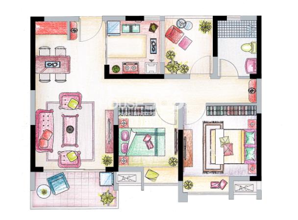 南山维拉A6户型图91㎡,2+1房两厅一卫