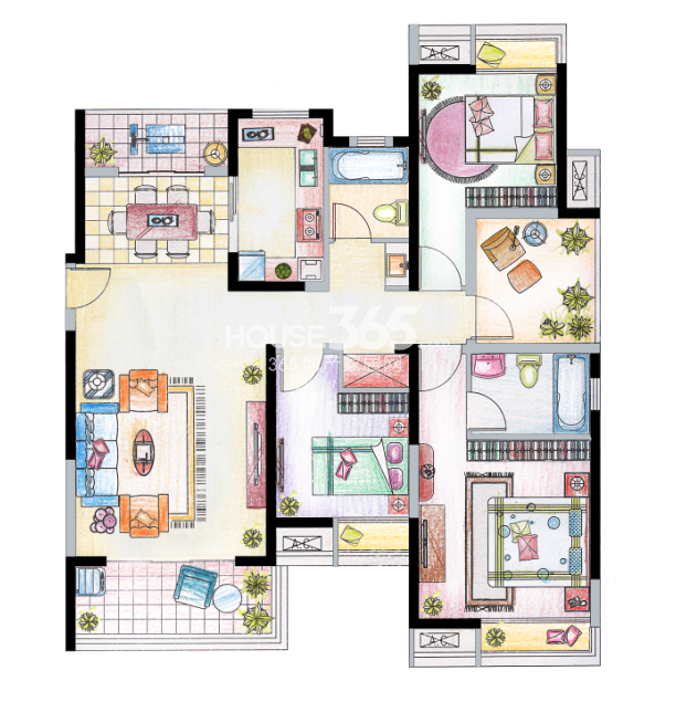 南山维拉D1户型图135㎡,3+1房两厅两卫