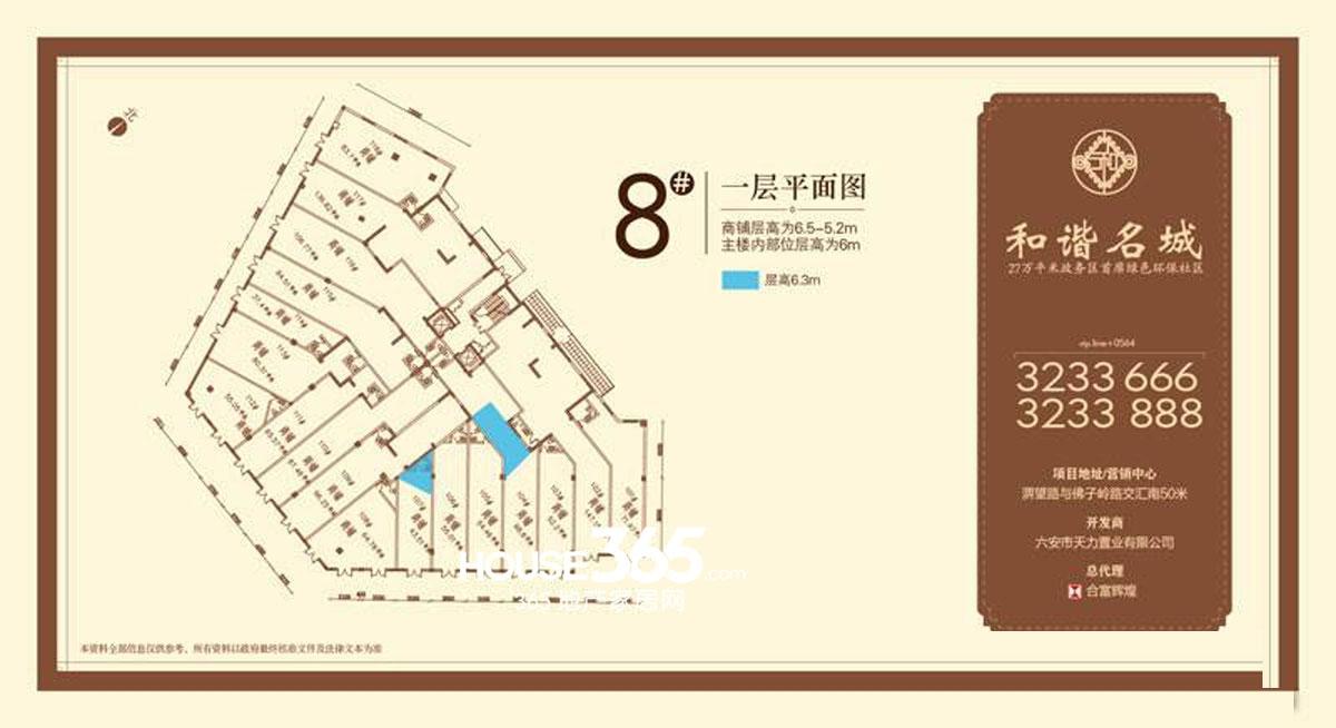 和谐名城8#一层平面图