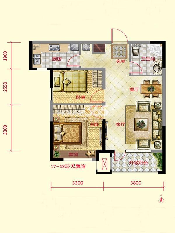 保利紫荆公馆 2室2厅1卫 79平