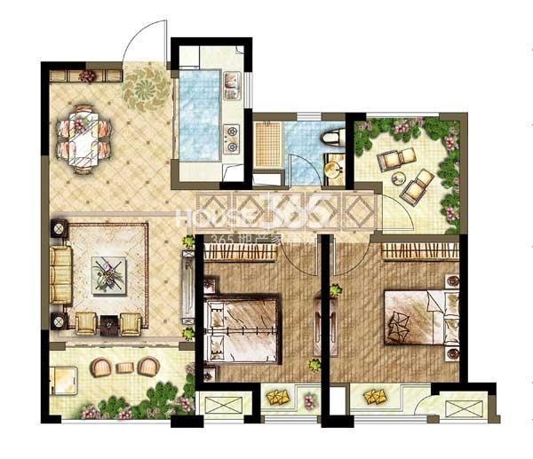 世茂香槟湖B1型 2+1室2厅1卫