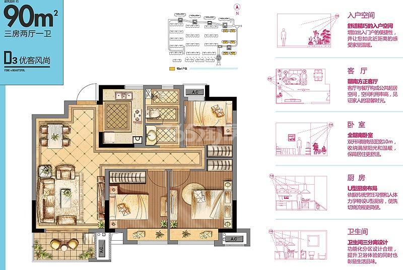 金辉优步花园D3户型90㎡三室两厅一卫