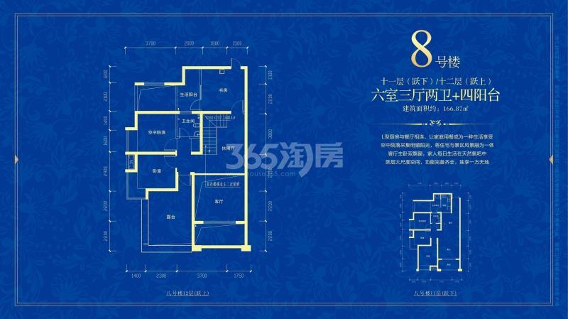 悠然蓝溪8#楼 11层/12层 复式小户型 六室三厅两卫四阳台