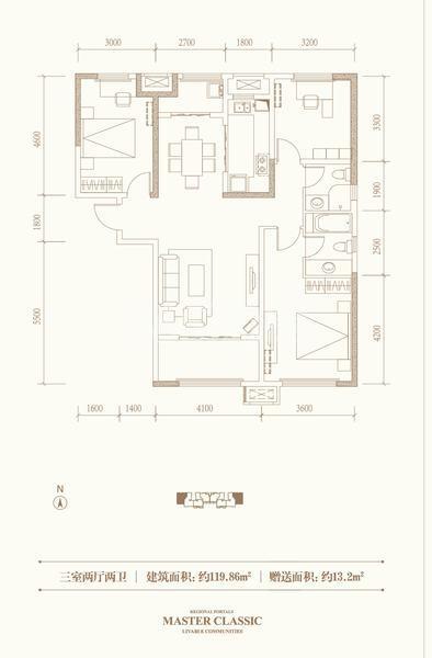 融创天朗珑府三室两厅两卫119.86平米