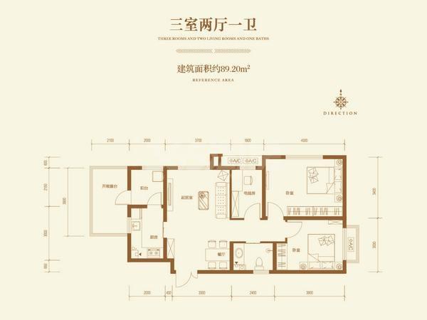红石原著小区三室两厅一卫约98.20㎡