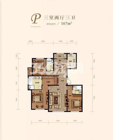 洋房P户型 3室2厅3卫 167㎡ (待售)
