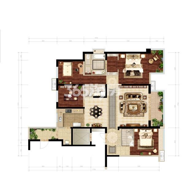 万科大明宫4室2厅2卫1厨197㎡户型图