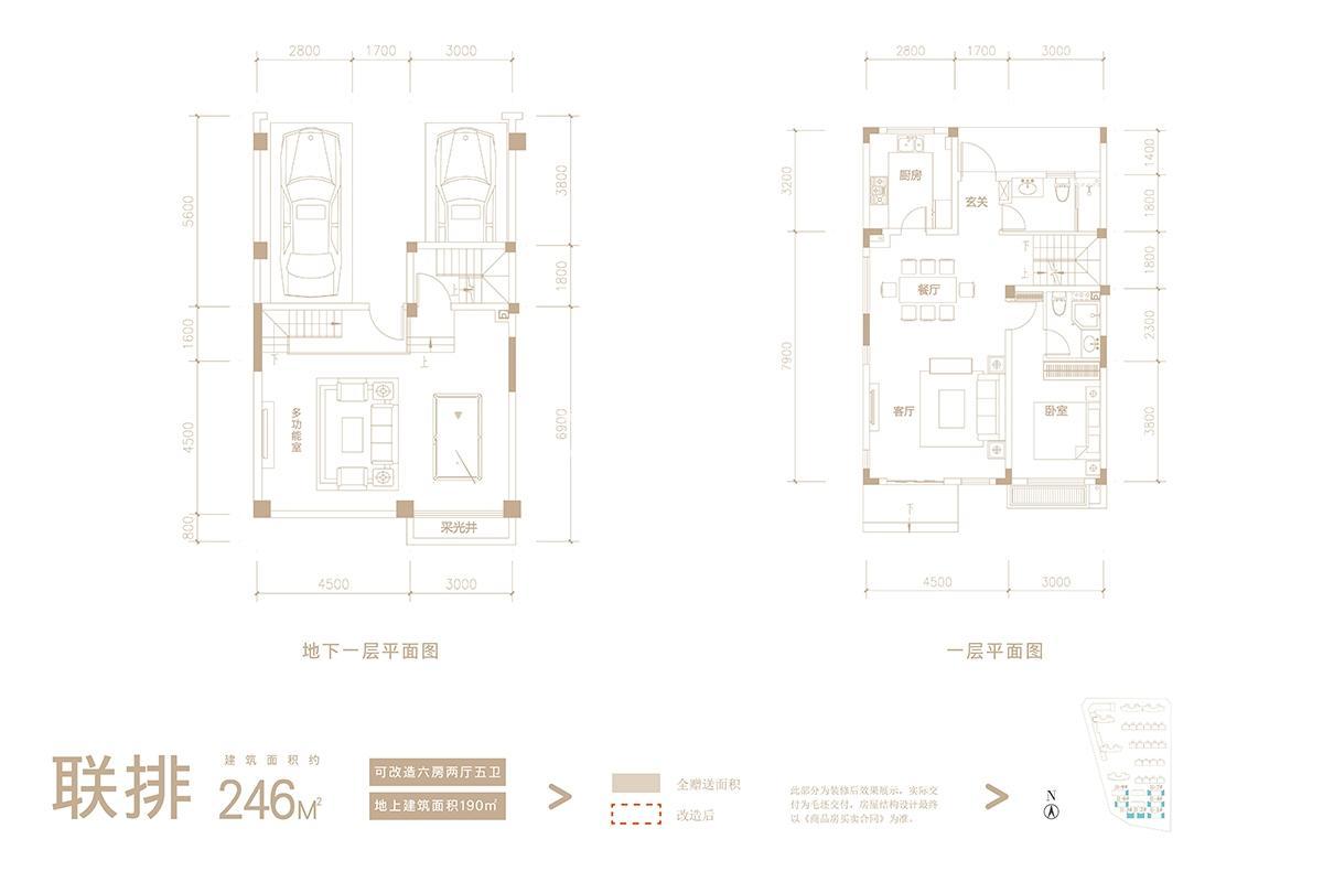 联排246㎡户型图(地下一层+ 一层)