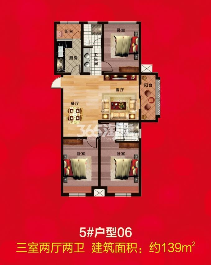 5#户型06 三室两厅两卫  建筑面积:139㎡