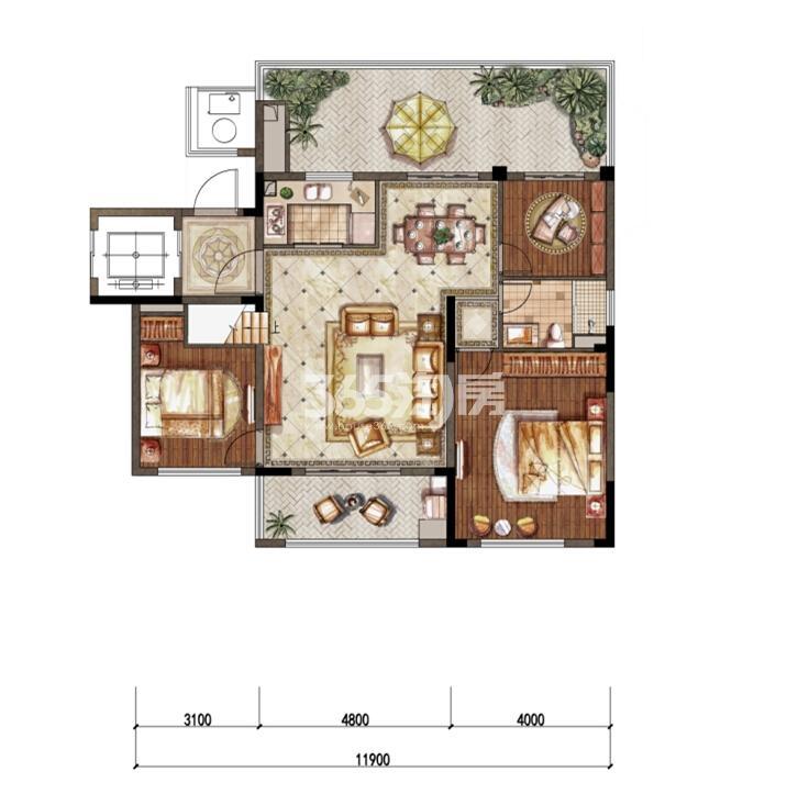 1-3洋房六层东边01室H-1户型 100㎡