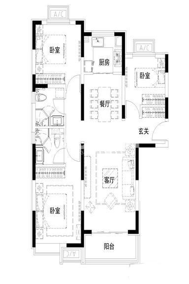 华远枫悦3室2厅1厨2卫105.00㎡