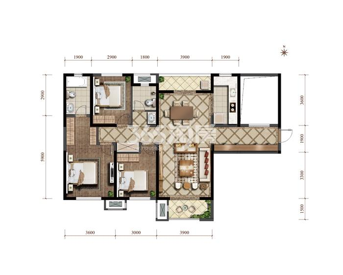 紫薇西棠高层四室两厅两卫一厨 132㎡