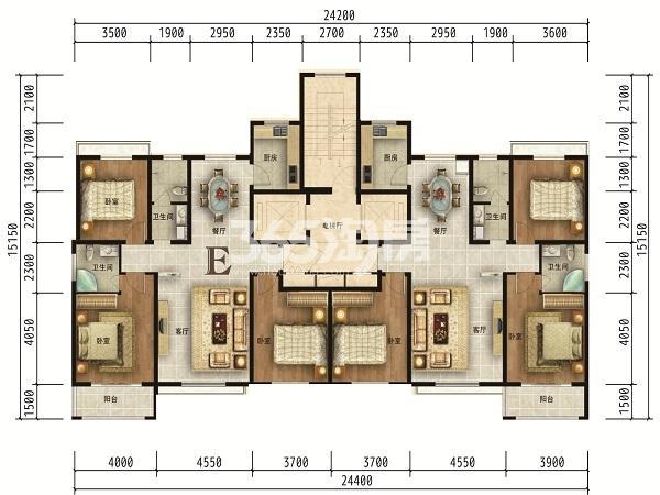 高层E户型143㎡三室两厅两卫调整后
