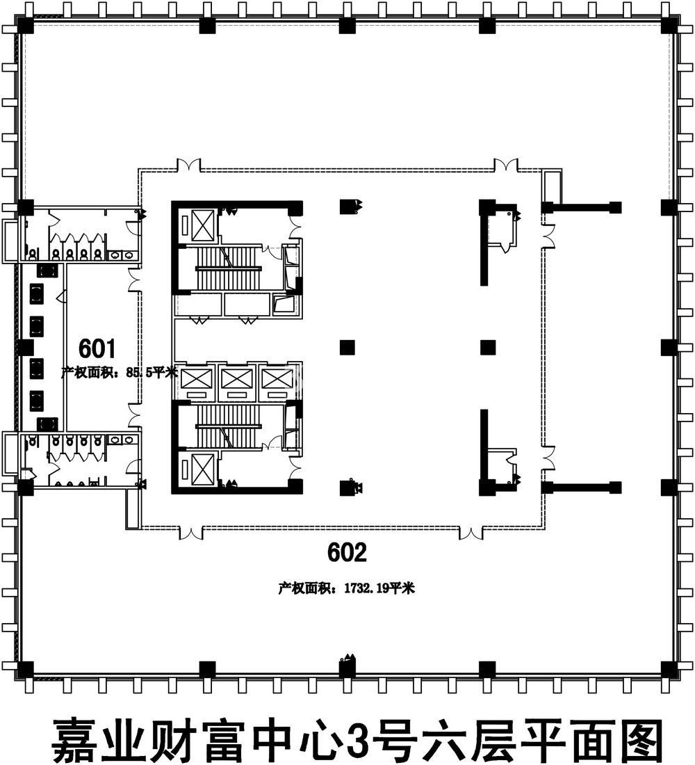 无锡恒大财富中心D栋写字楼6层楼层图