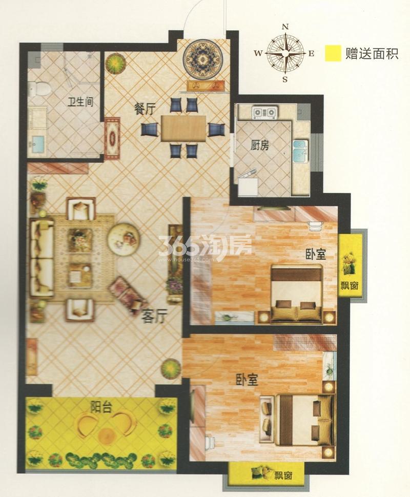 L户型 建筑面积约85.12㎡ 两室两厅一卫