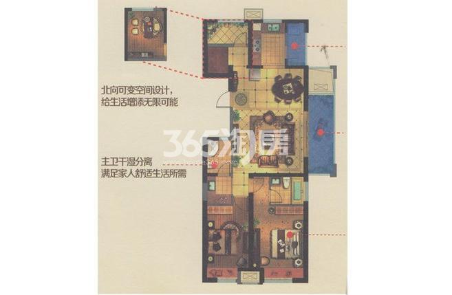金科世界城高层126.73平户型图