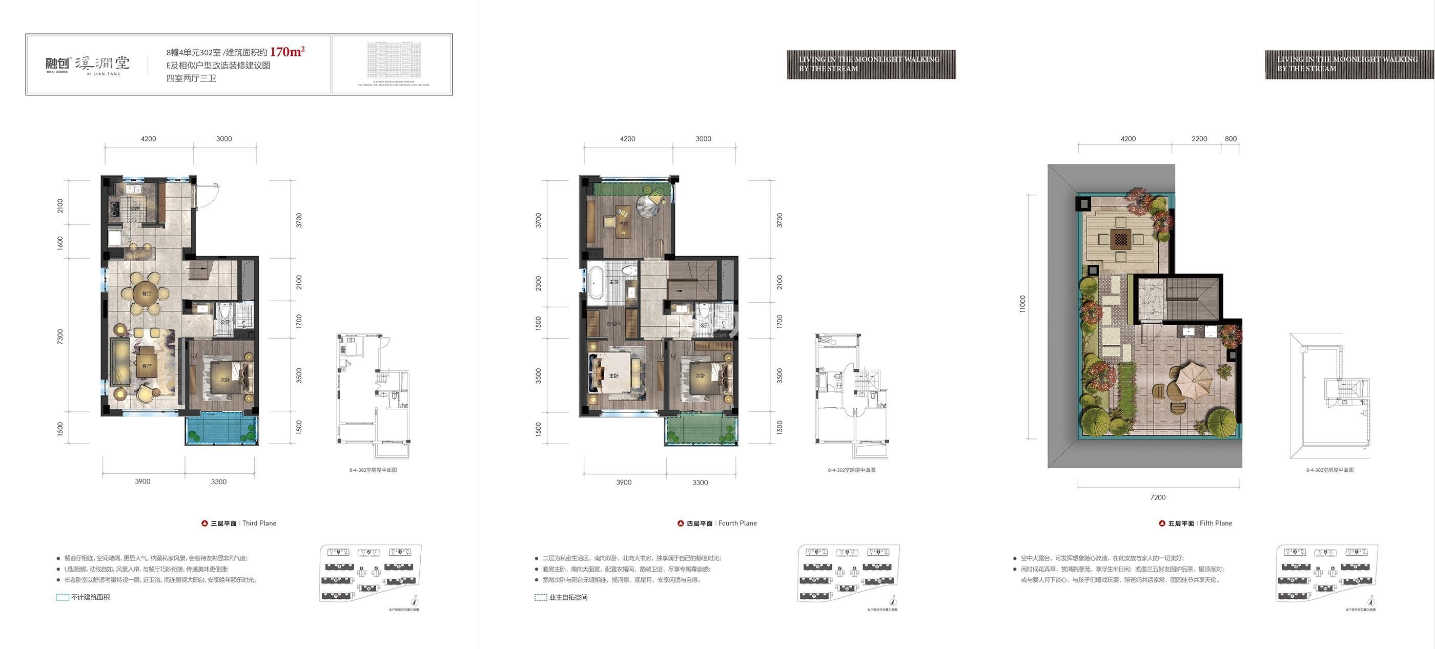 融创溪涧堂4、5、8-11号楼E户型170方户型图