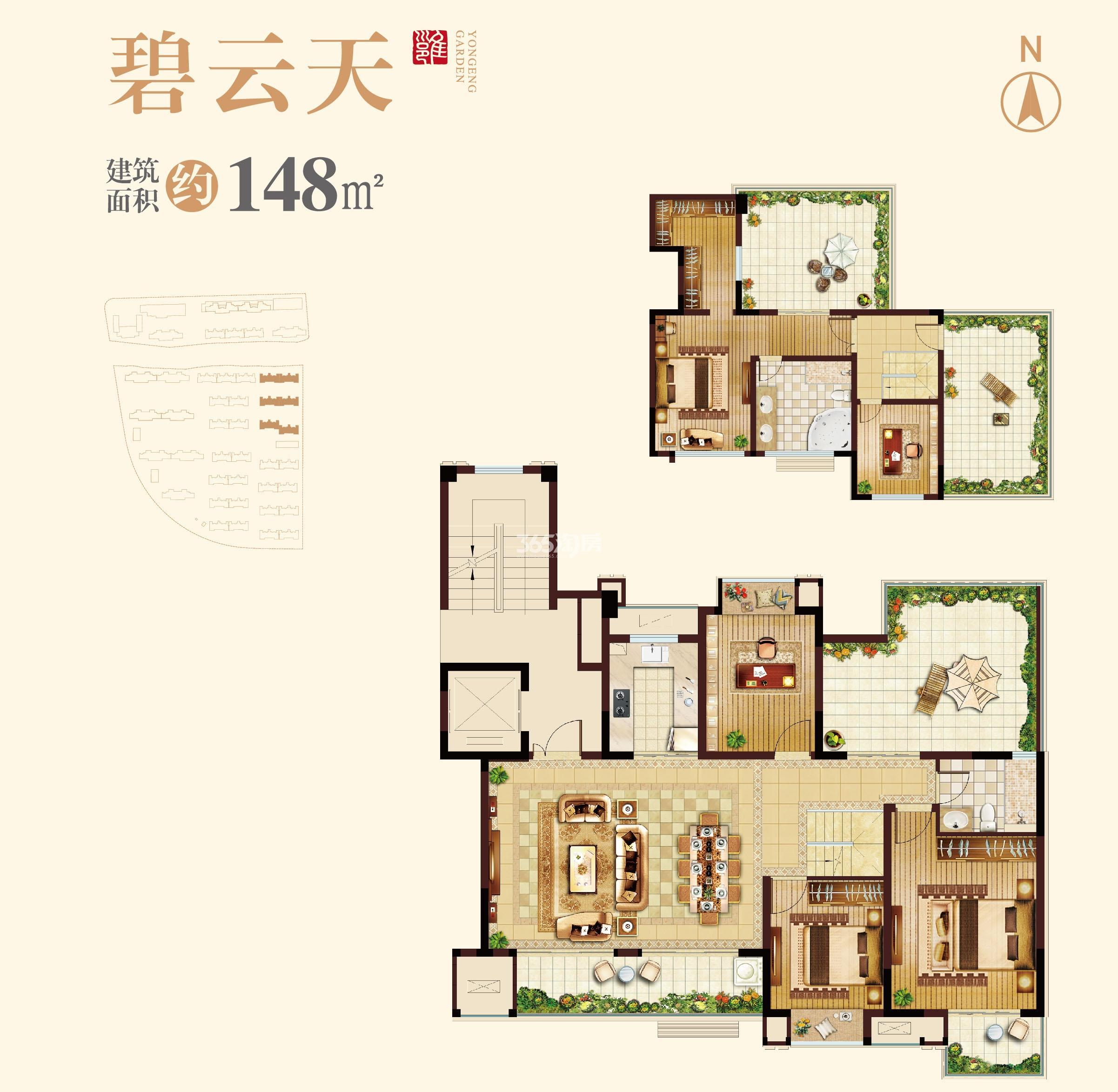 蓝光雍锦里148平洋房户型图(带地下室)
