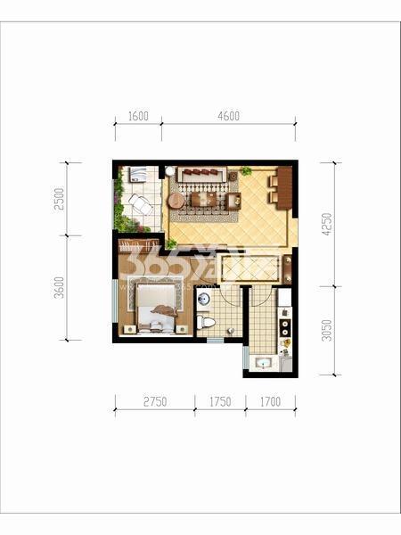 天朗玖悦都一室一厅一厨一卫48.41平米户型