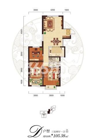 阳光台365 D户型三室两厅一卫105.38㎡