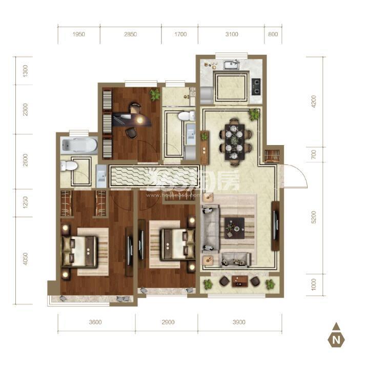 131平米三室两厅两卫