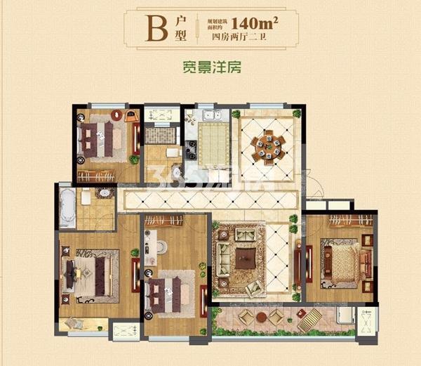 洋房140㎡四室两厅二卫
