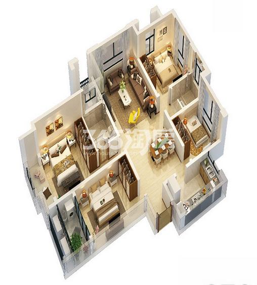 万科印象花园116㎡户型  4室2厅2卫1厨