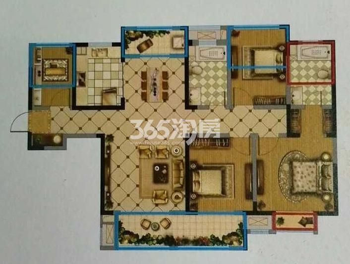 一期1#3#标准层C户型 3室2厅2卫1厨