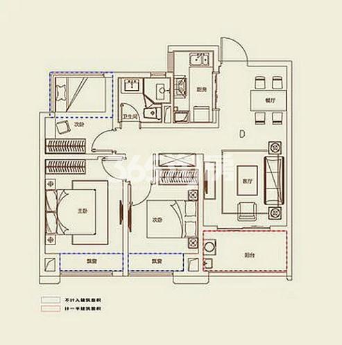 A2户型, 3室2厅1卫1厨