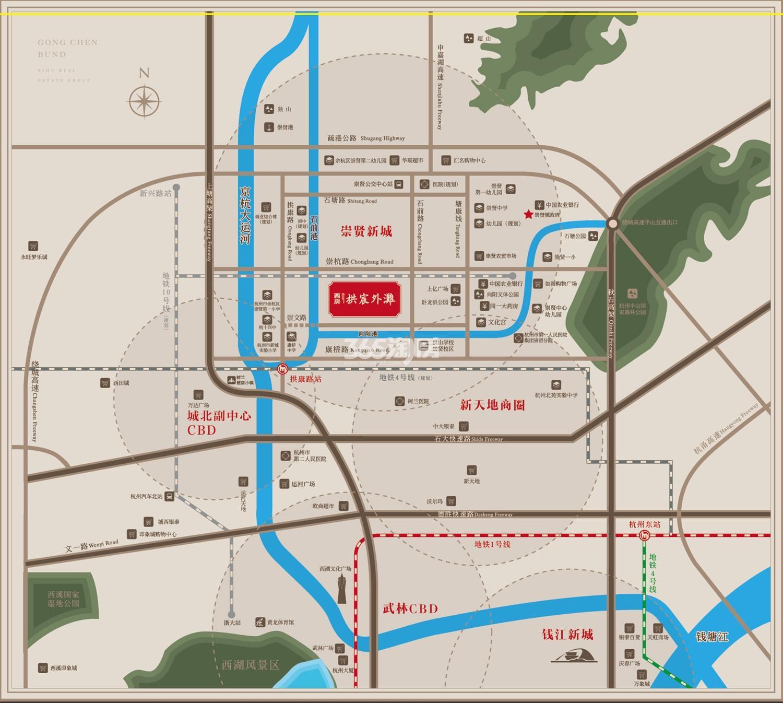 西房拱宸外滩交通图