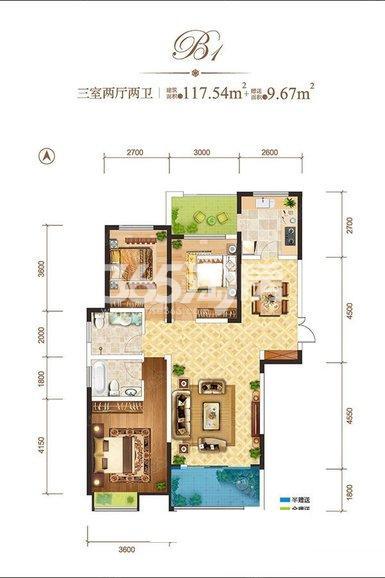 龙记玖玺B1-户型3室2厅2卫1厨117.54㎡