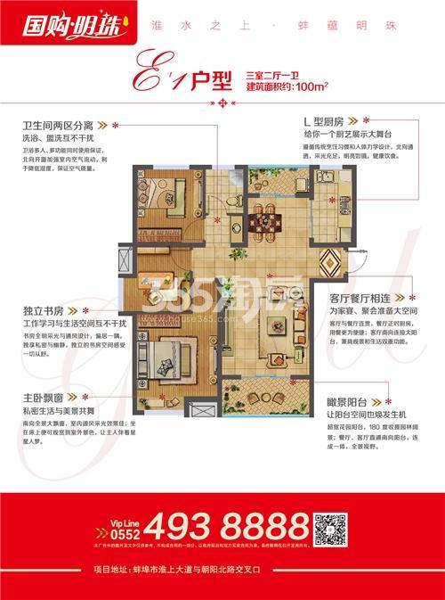 蚌埠国购广场-国购明珠 E1 三室二厅一卫100㎡