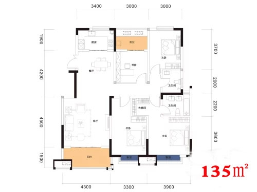 阳光城翡丽曲江16#楼3室2厅2卫1厨135平