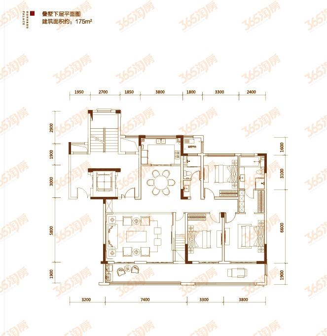 顶层叠墅户型图——下层平面图