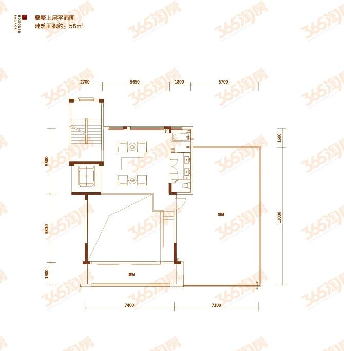 顶层叠墅户型图——上层平面图