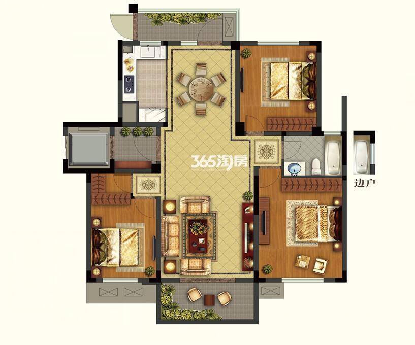 康诗丹郡25#楼八层112.46-112.81平户型图